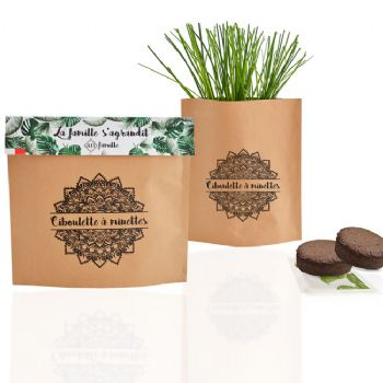 cadeau ecologíque kit de plantation kit de plantation, pot kraft pop-up